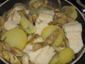 cottura baccala con patate e carciofi