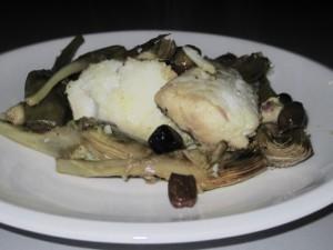 Baccalà con carciofi ed olive taggiasche